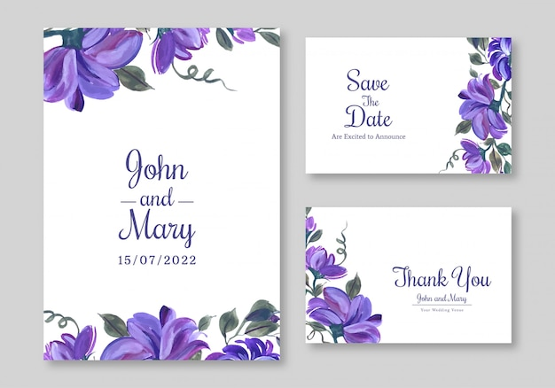 Lovely flowers widding card template design
