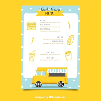 평면 디자인의 사랑스러운 음식 트럭 메뉴
