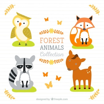 Lovely forest animals in flat style