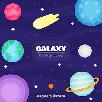 Lovely galaxy background with flat design