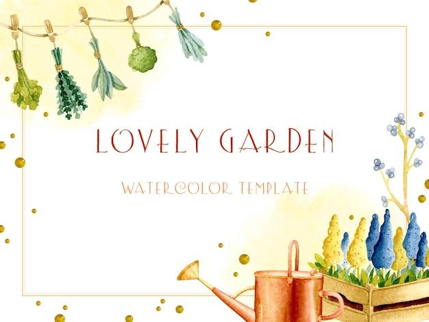 아름다운 정원 수채화 프레임 템플릿