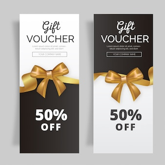 Lovely gift voucher with golden ribbon