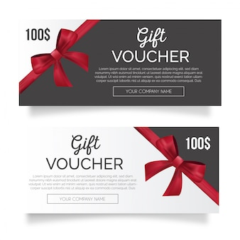 Lovely gift voucher with red ribbon