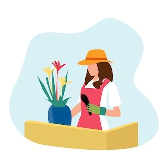 사랑스러운 소녀 컷과 꽃 심기. 생태 및 환경 보호 그림