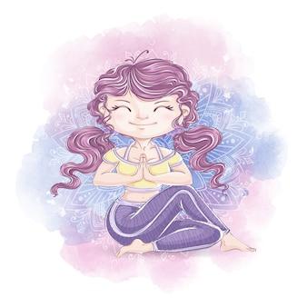 Милая девушка занимается йогой. здоровый образ жизни и отдых. акварельные иллюстрации