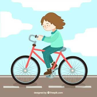 Bella bici da corsa della ragazza