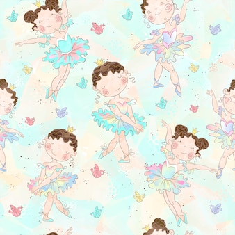 Lovely girls ballerinas dancing pattern