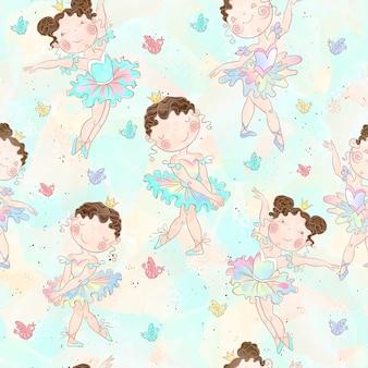 Lovely girls ballerinas dancing pattern