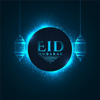 Lovely glowing blue eid mubarak festival greeting