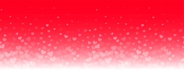 Lovely glowing hearts banner on red background