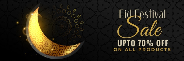 Lovely golden eid moon sale banner design