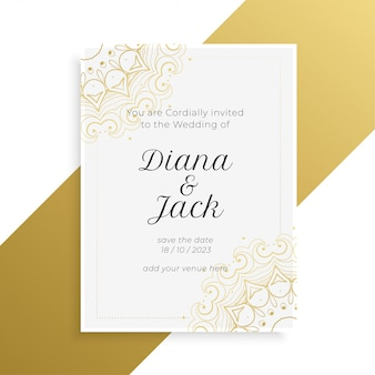 Lovely golden and white wedding invitation card