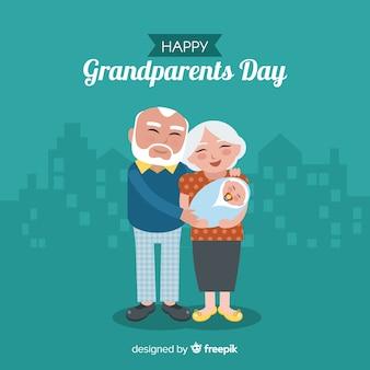 Прекрасная композиция дня дедушки и бабушки с плоским дизайном
