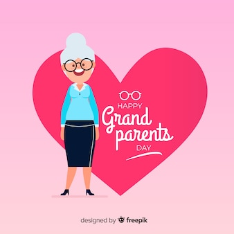 Lovely grandparents day composition with flat design