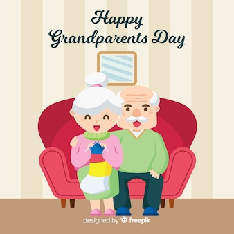 Lovely grandparents' day composition with flat design