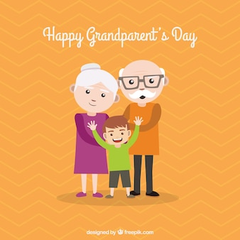 Lovely grandparents with their grandson