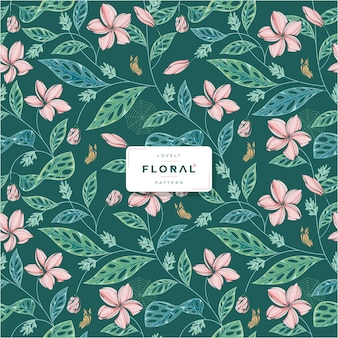 Lovely green floral seamless pattern