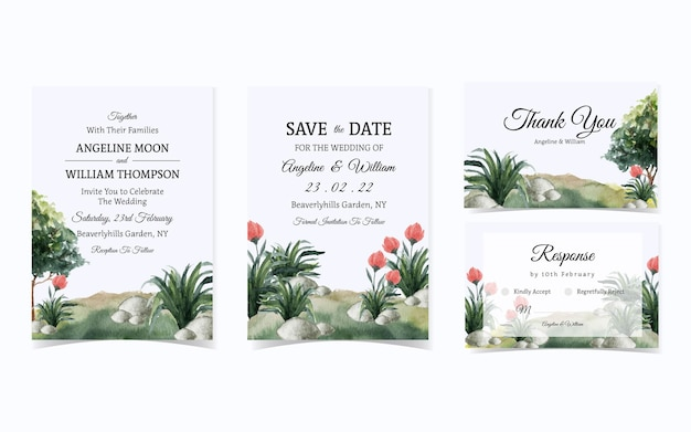 Lovely green garden with flower wedding invitation suite