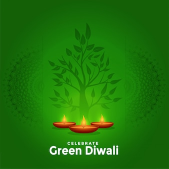 Lovely green happy diwali creative greeting background