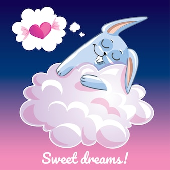 A lovely greeting card with a hand drawn bunny rabbit sleeping on the cloud and an example text message sweet dreams,  illustration
