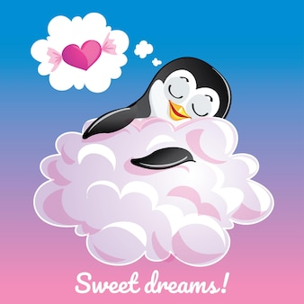 A lovely greeting card with a hand drawn penguin sleeping on the cloud and an example text message sweet dreams