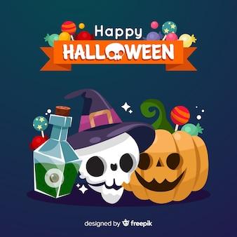 Прекрасный фон хэллоуина с плоским дизайном