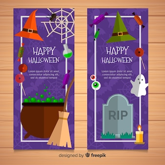 Lovely halloween banners with flat design