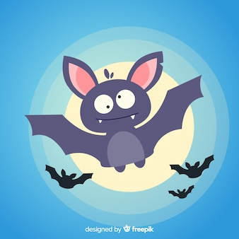 Lovely halloween bat with flat design