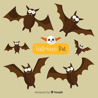 Lovely halloween bats with flat design
