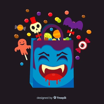 Lovely halloween candy bag with flat design