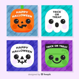 Lovely halloween card collection with flat design