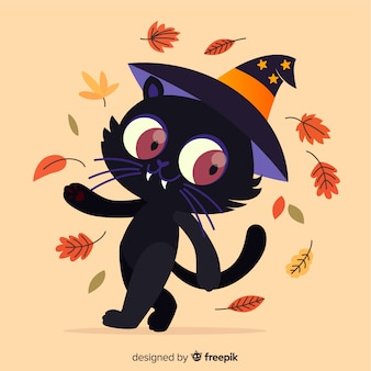 Lovely halloween cat with flat design
