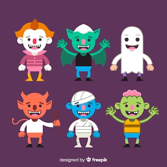 Lovely halloween character collection with flat design