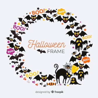 Lovely halloween frame with flat design