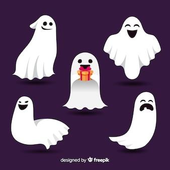 Прекрасная коллекция призрак хэллоуина с плоским дизайном