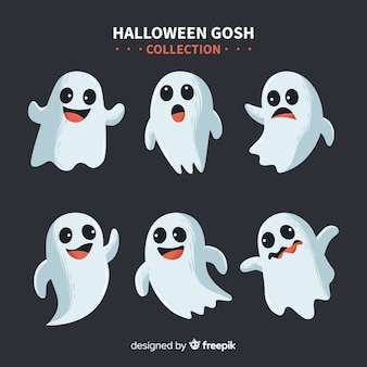 Lovely halloween ghost collection with flat design