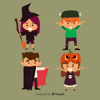 Lovely halloween kids collection with flat design