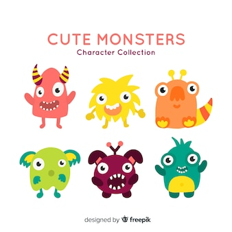 Lovely halloween monster collection with flat design