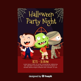 Lovely halloween party poster template with flat design
