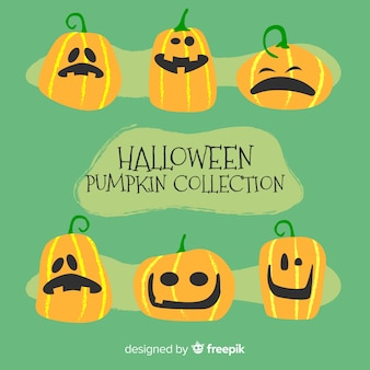 Lovely halloween pumpkin collection with flat design
