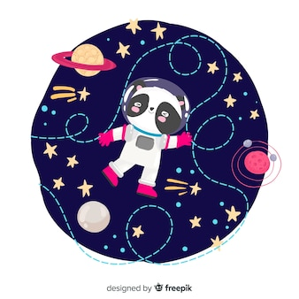 Lovely hand drawn astronaut character