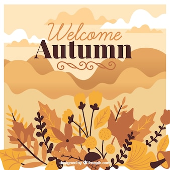 Lovely hand drawn autumn background