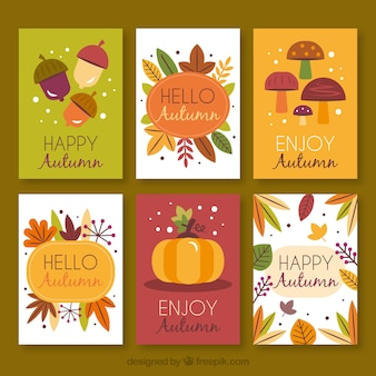 Lovely hand drawn autumn card collection
