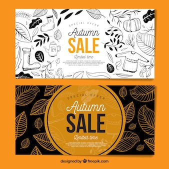 Lovely hand drawn autumn sale banners