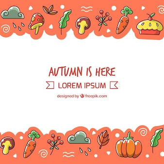 Lovely hand drawn autumnal background