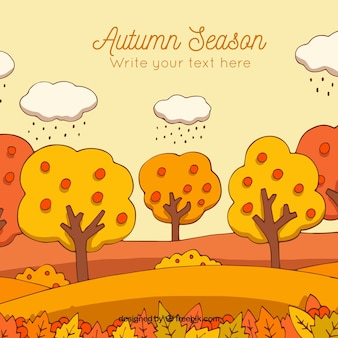 Lovely hand drawn autumnal landscape background