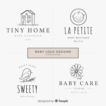 Lovely hand drawn baby logo collectio
