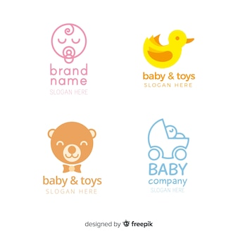 Lovely hand drawn baby logo collection