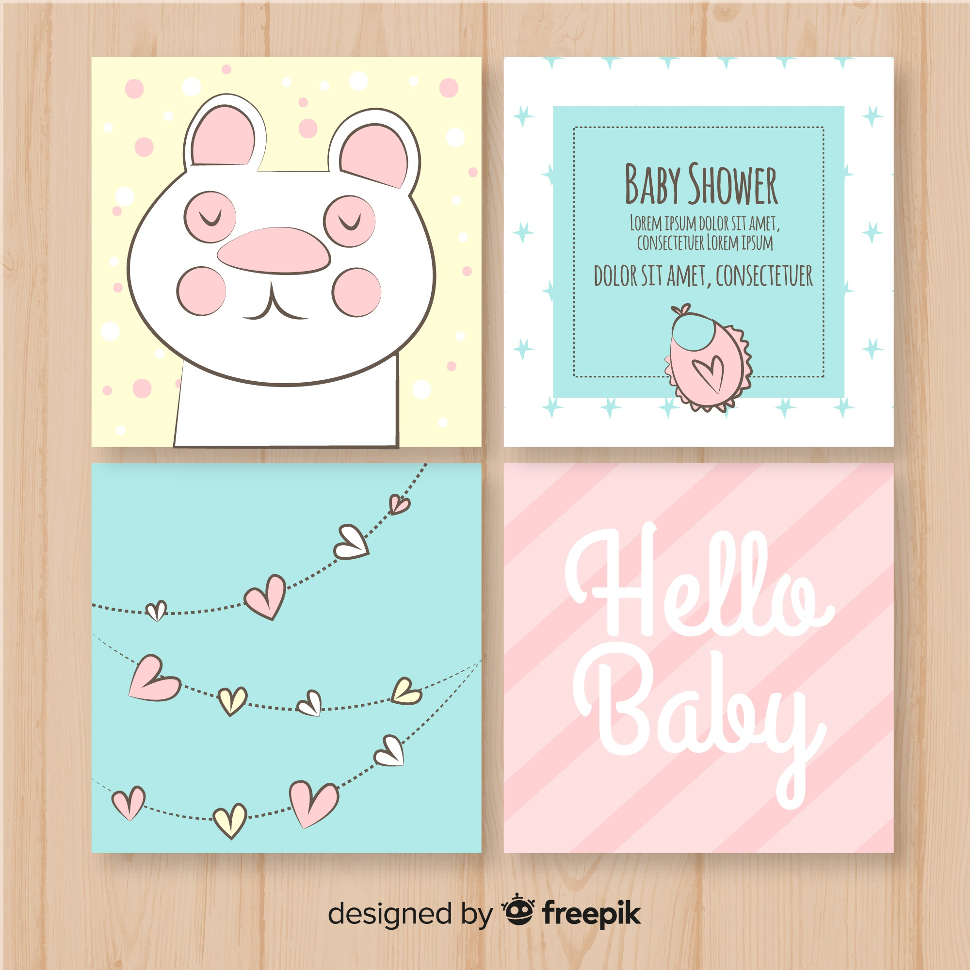 Lovely hand drawn baby shower card collection