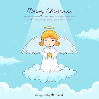 Lovely hand drawn christmas angel